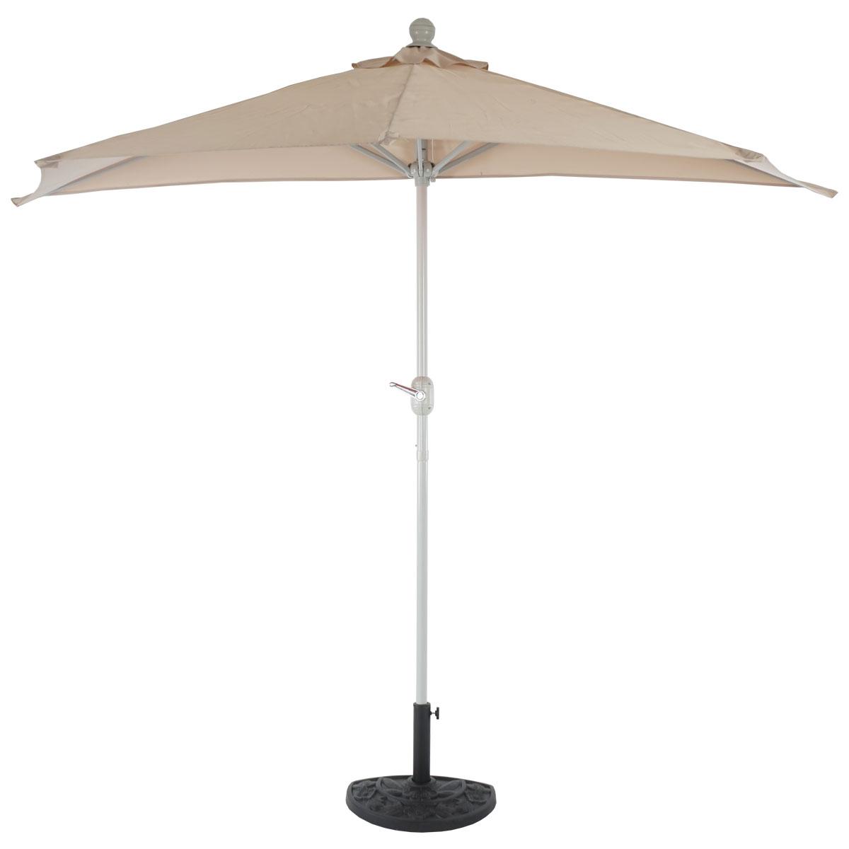 sonnenschirm halbrund parla halbschirm balkonschirm uv 50 polyester alu 3kg 270cm creme mit. Black Bedroom Furniture Sets. Home Design Ideas
