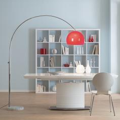 Bogenlampe LOUNGE DEAL II Stehleuchte, chrom ~ rot, 180cm
