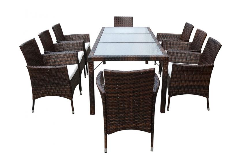 poly rattan garten garnitur ariana 8 sessel tisch wpc o glas anthrazit braun. Black Bedroom Furniture Sets. Home Design Ideas