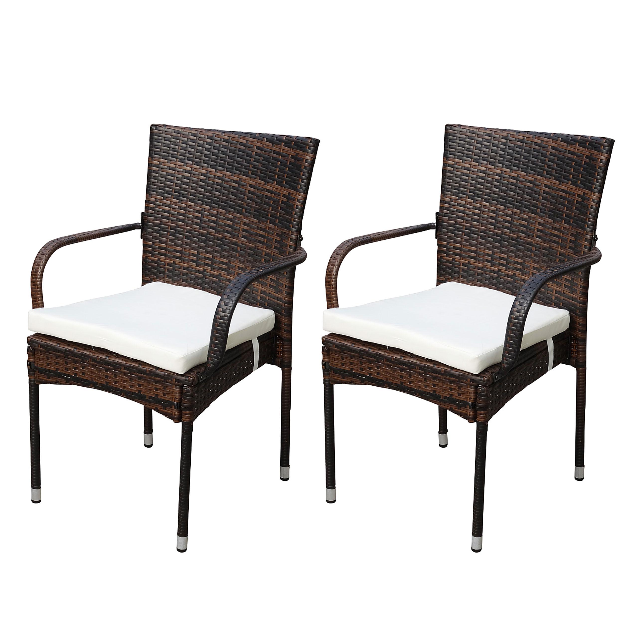 2x poly rattan gartenstuhl ariana stapelstuhl rattanstuhl inkl sitzkissen braun. Black Bedroom Furniture Sets. Home Design Ideas