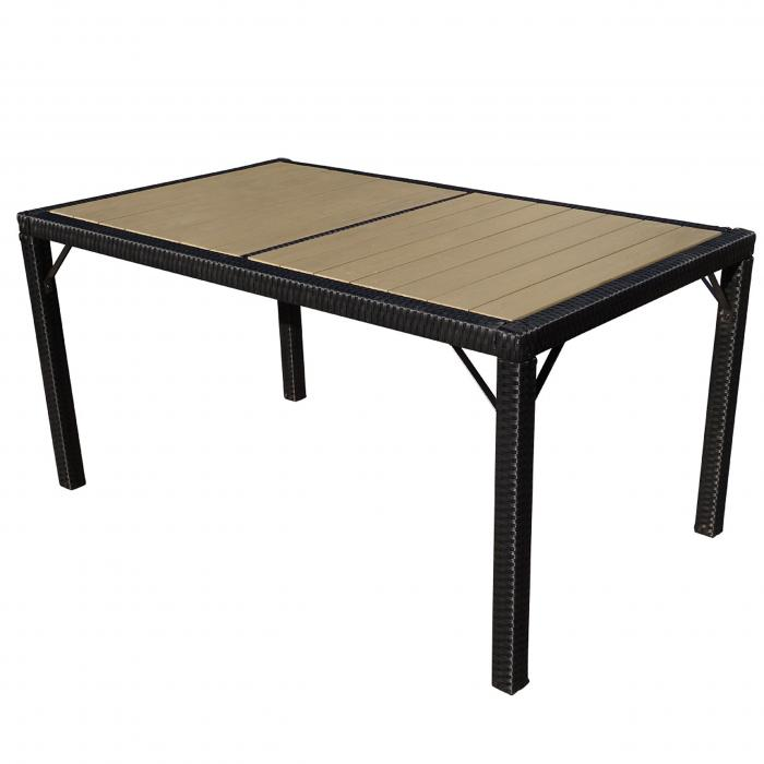 Poly Rattan Gartentisch Ariana Tisch Esszimmertisch 150x90cm Wpc