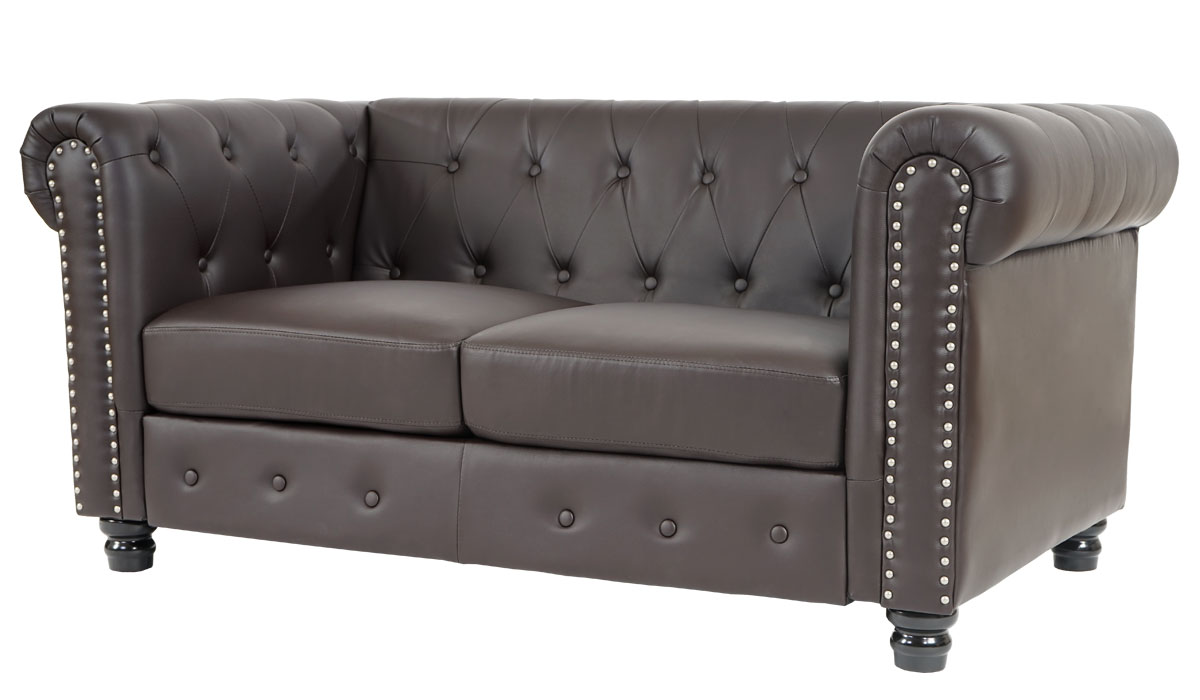luxus 2er sofa loungesofa couch chesterfield kunstleder runde f e braun. Black Bedroom Furniture Sets. Home Design Ideas