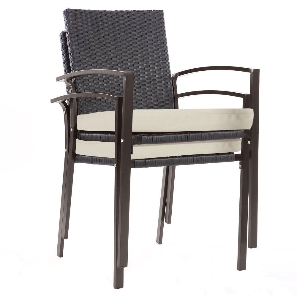 2x poly rattan gartenstuhl palma ii stapelstuhl rattanstuhl inkl sitzkissen anthrazit. Black Bedroom Furniture Sets. Home Design Ideas