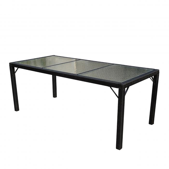 Poly Rattan Gartentisch Ariana Tisch Esszimmertisch 190x90cm Glas