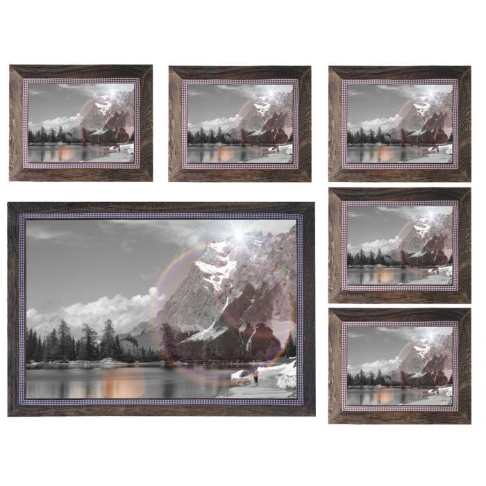 Bilderrahmen Set, Fotorahmen Holzrahmen, 5x 19x24cm 1x 36x51cm ...