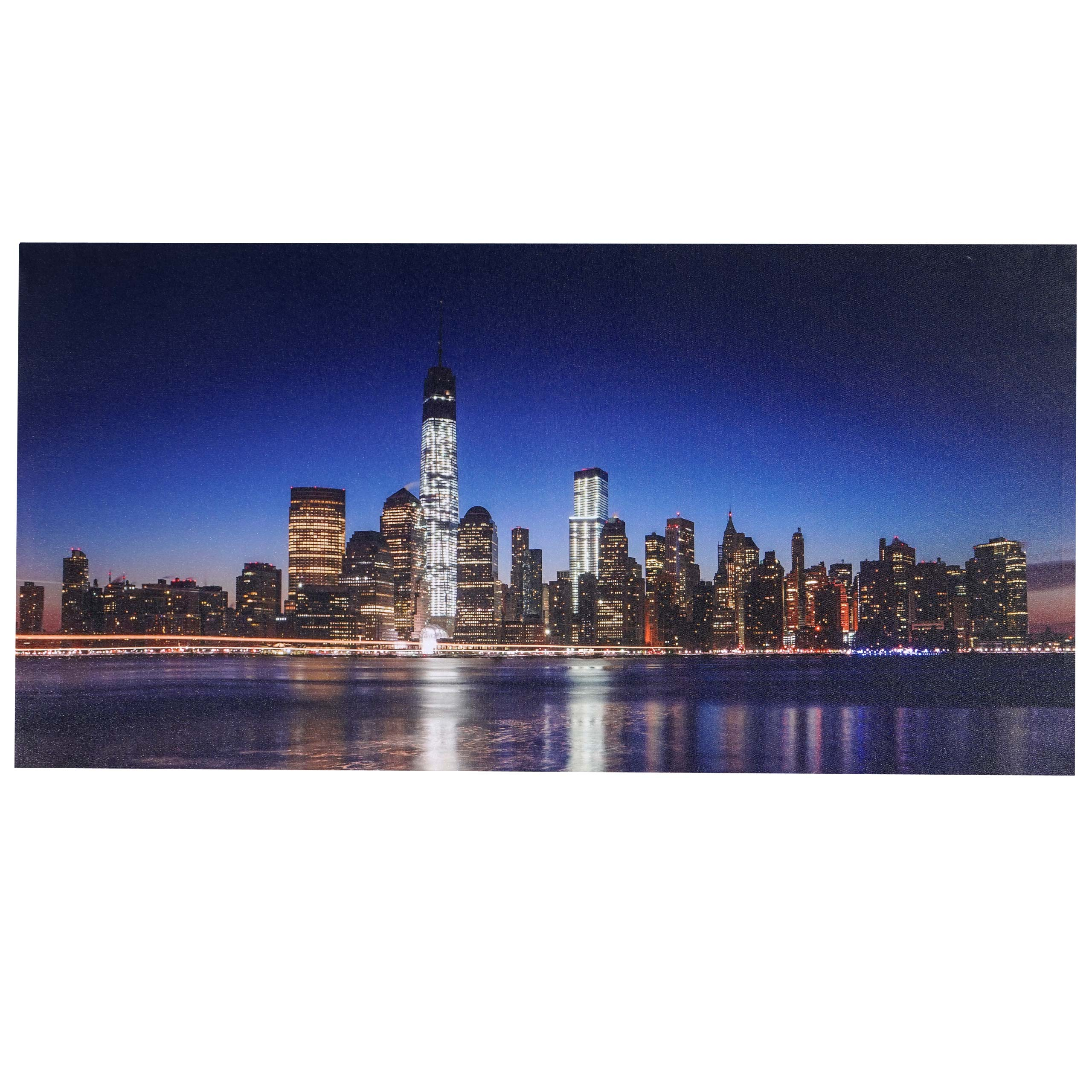 led bild mit beleuchtung timer 100x50cm flackernd one world trade center ebay. Black Bedroom Furniture Sets. Home Design Ideas