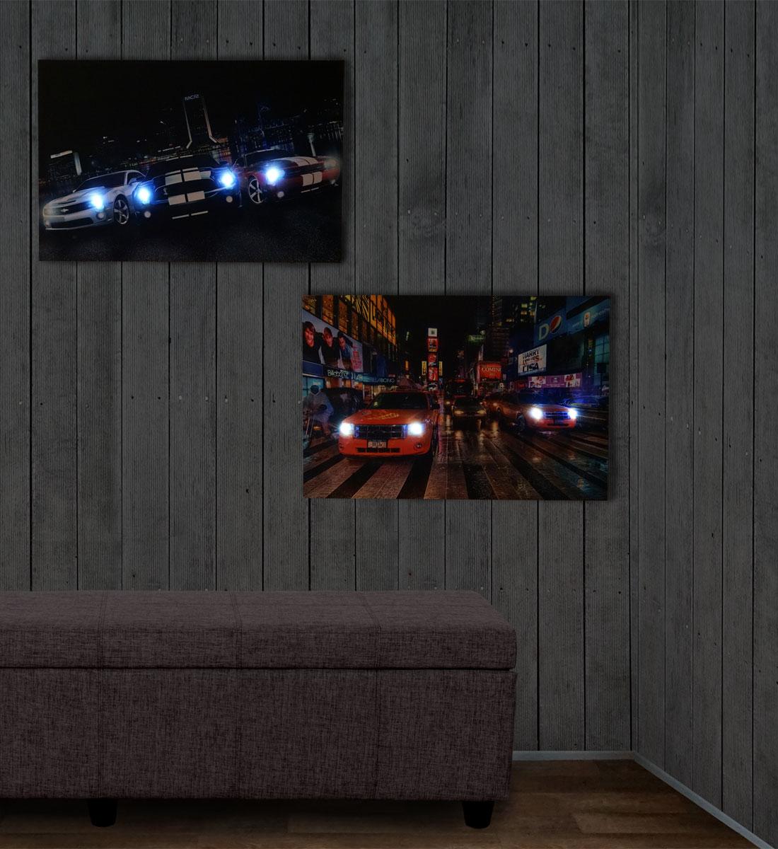 2x led bild mit beleuchtung leinwandbild leuchtbild wandbild 60x40cm timer cars. Black Bedroom Furniture Sets. Home Design Ideas