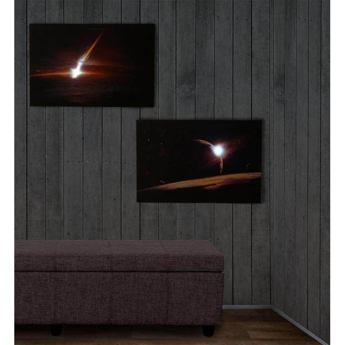 2x led bild mit beleuchtung leinwandbild leuchtbild wandbild 60x40cm timer planet. Black Bedroom Furniture Sets. Home Design Ideas