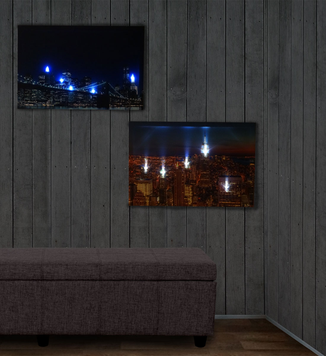 2x led bild mit beleuchtung leinwandbild leuchtbild wandbild 60x40cm timer skyline new york. Black Bedroom Furniture Sets. Home Design Ideas