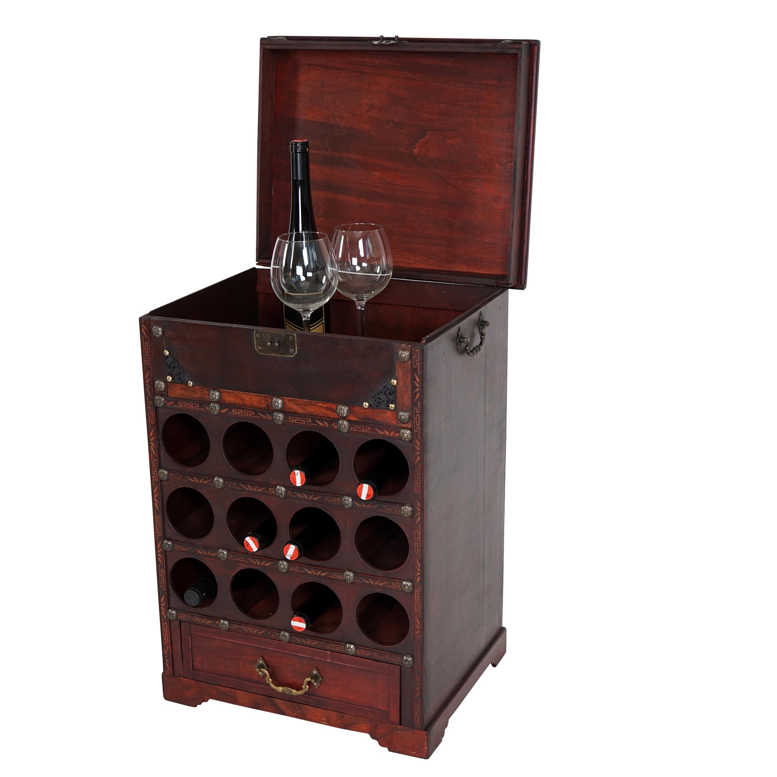 Mendler Weinregal Calvados T254, Flaschenregal Regal Holzregal, für 12 Flaschen Kolonialstil 69x47x38 cm ~ V 36637