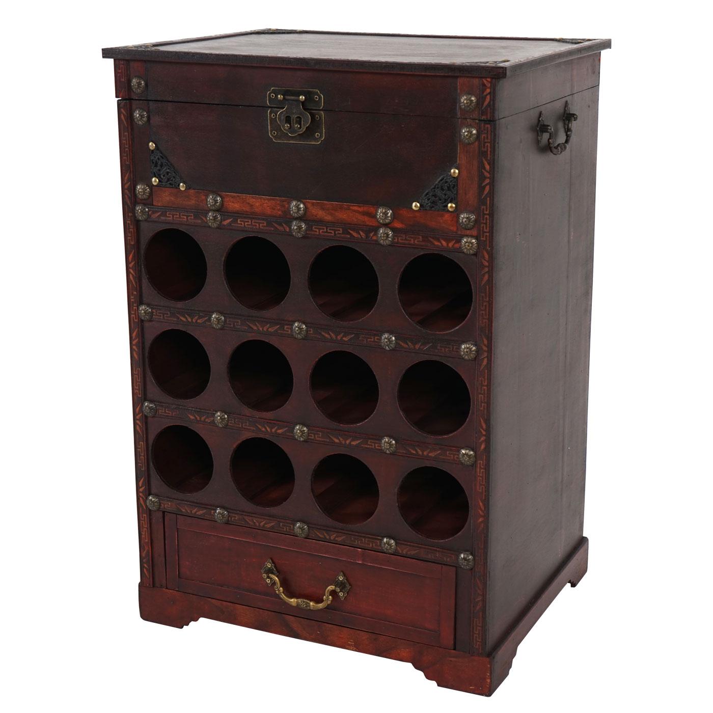 weinregal calvados t254 flaschenregal regal holzregal f r 12 flaschen kolonialstil 69x47x38 cm. Black Bedroom Furniture Sets. Home Design Ideas