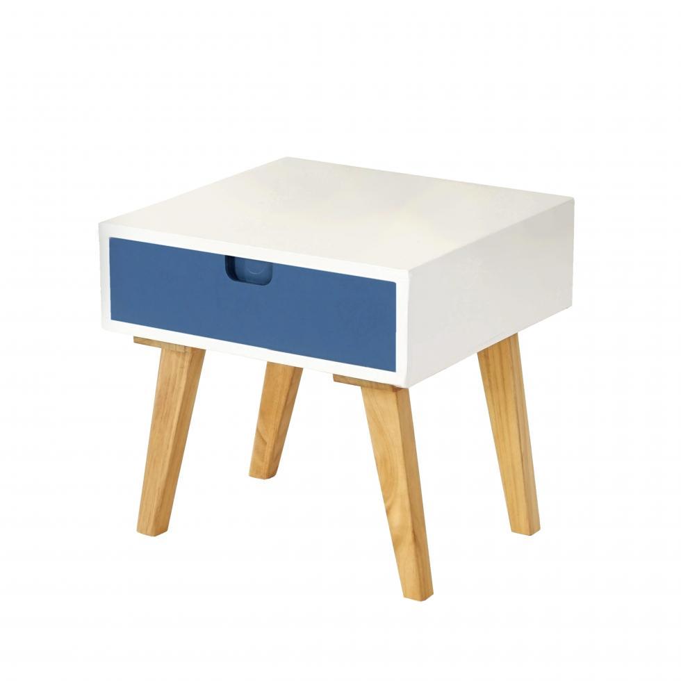 kommode vaasa t255 beistelltisch schrank retro design 40x40x40cm blaue front altusried. Black Bedroom Furniture Sets. Home Design Ideas