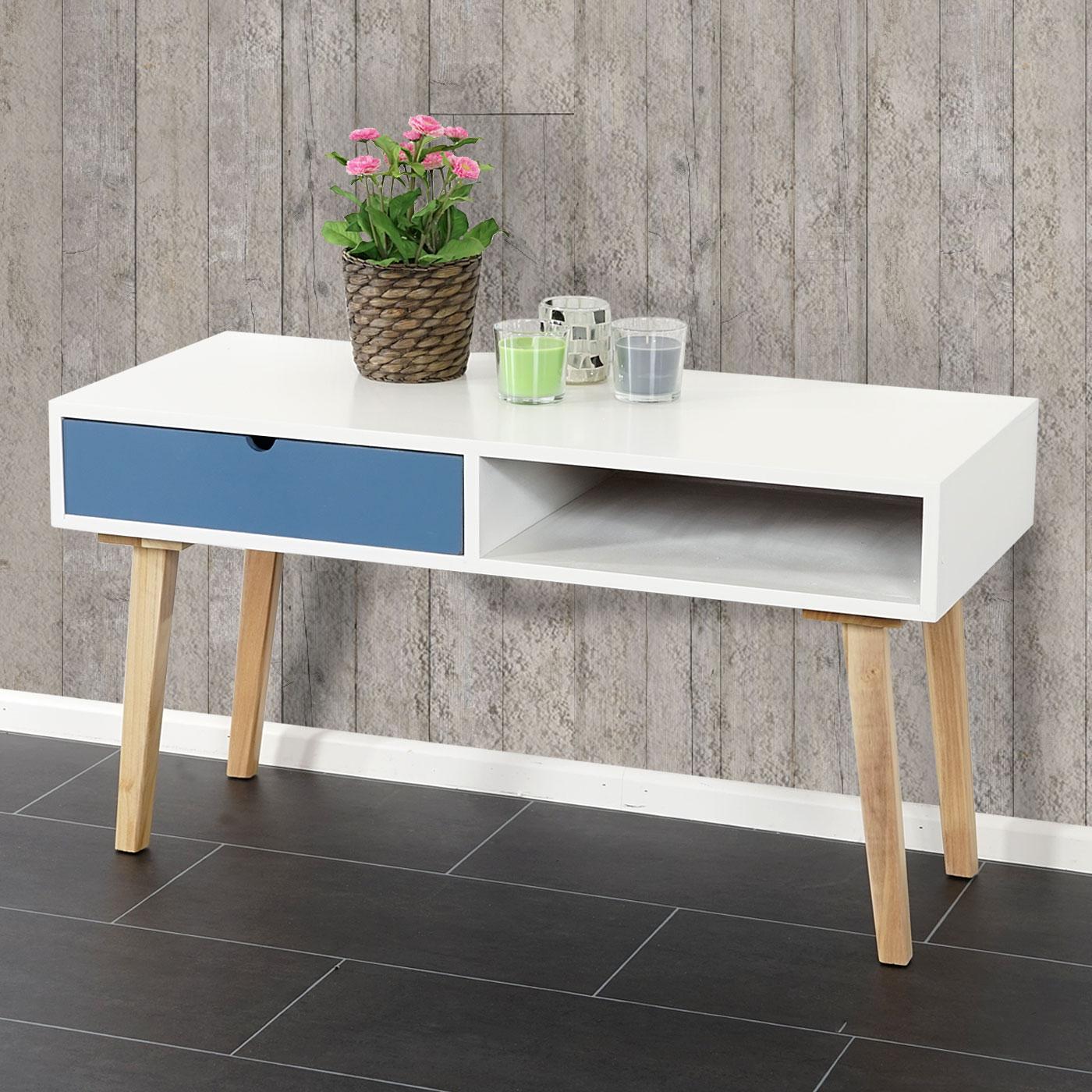 kommode malm t265 beistelltisch schrank retro design 49x90x40cm blau wei ebay. Black Bedroom Furniture Sets. Home Design Ideas
