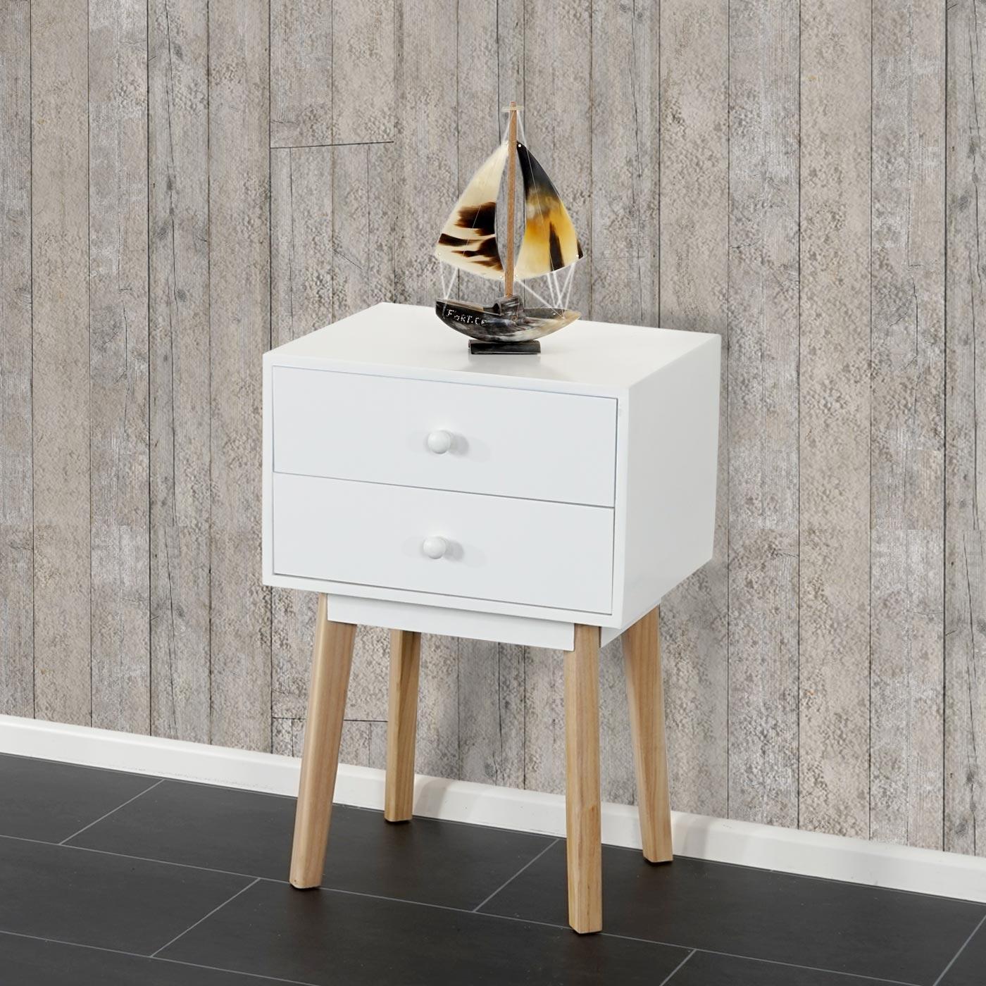 kommode malm t271 beistelltisch nachttisch schrank retro design 59x40x30cm schublade wei. Black Bedroom Furniture Sets. Home Design Ideas