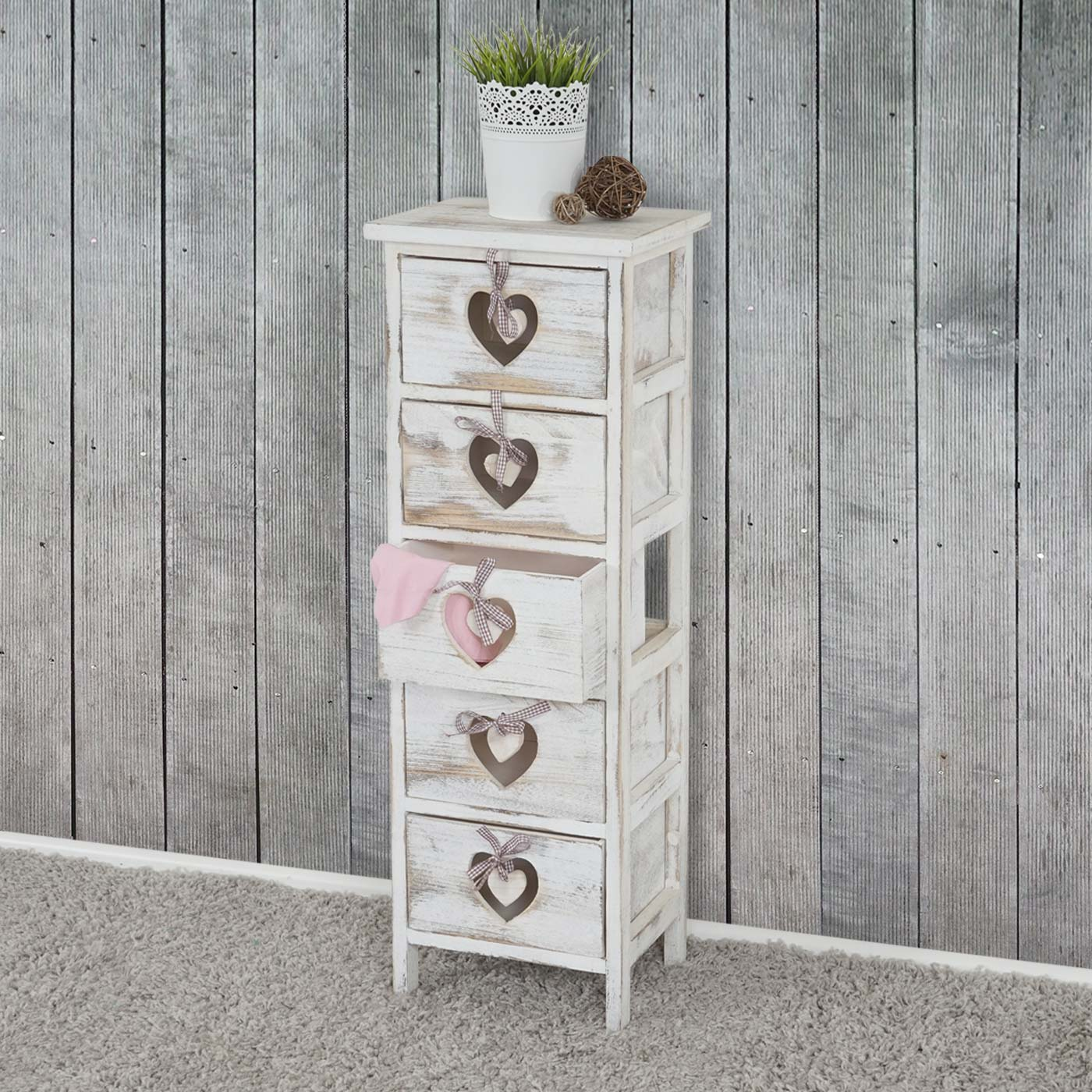 kommode forli schubladenkommode schrank 5 schubladen mit herzen 86x29x25cm shabby look vintage. Black Bedroom Furniture Sets. Home Design Ideas