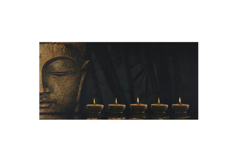 led bild mit beleuchtung timer 110x55cm buddha flackernd leinwandbild ebay. Black Bedroom Furniture Sets. Home Design Ideas
