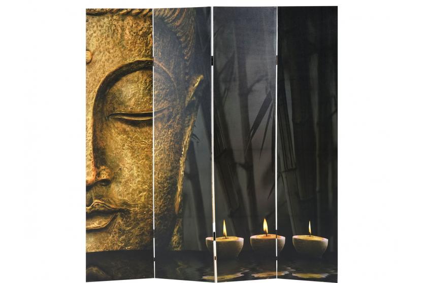 foto paravent buddha paravent raumteiler trennwand 180x160 cm. Black Bedroom Furniture Sets. Home Design Ideas