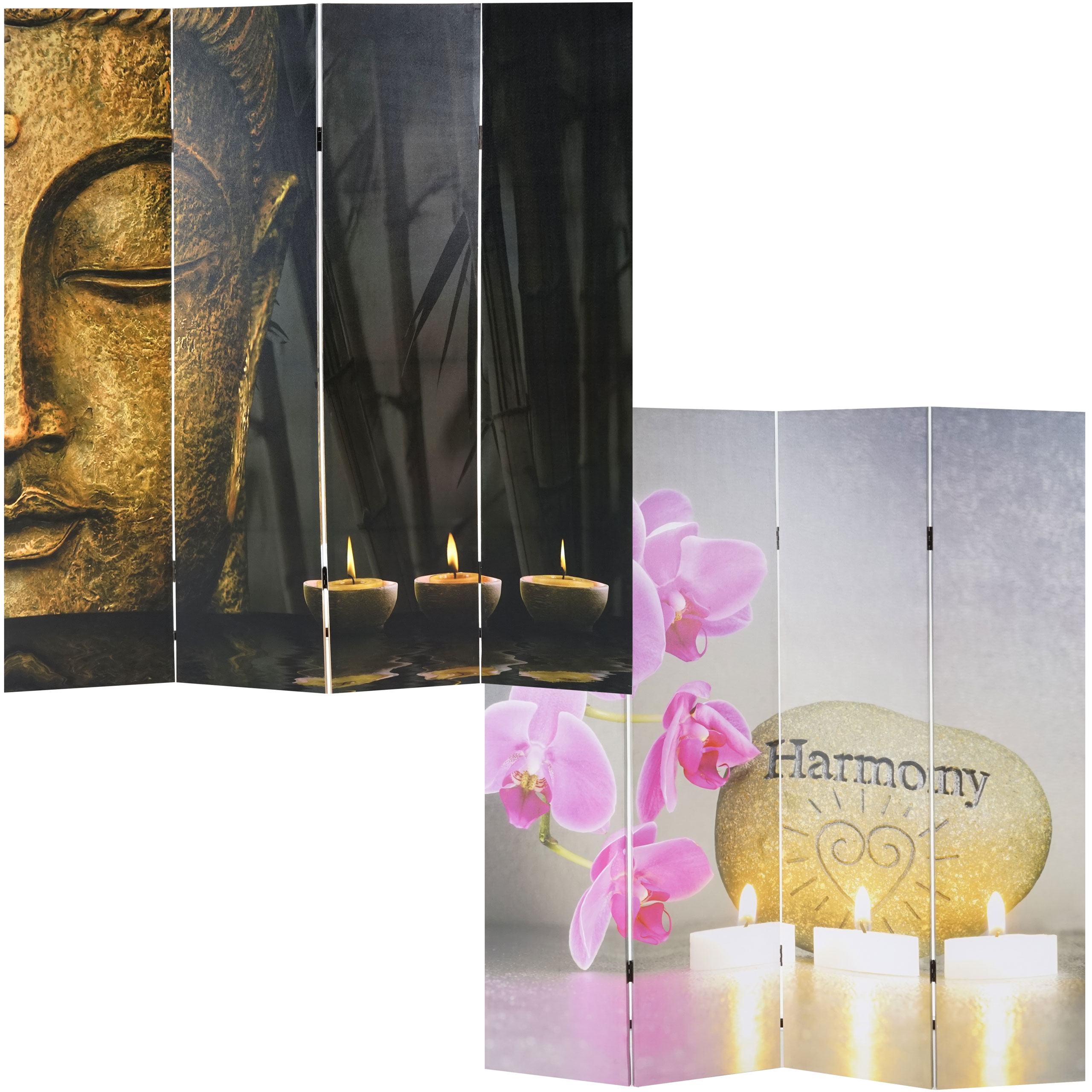 foto paravent buddha paravent raumteiler trennwand 180x160 cm. Black Bedroom Furniture Sets. Home Design Ideas