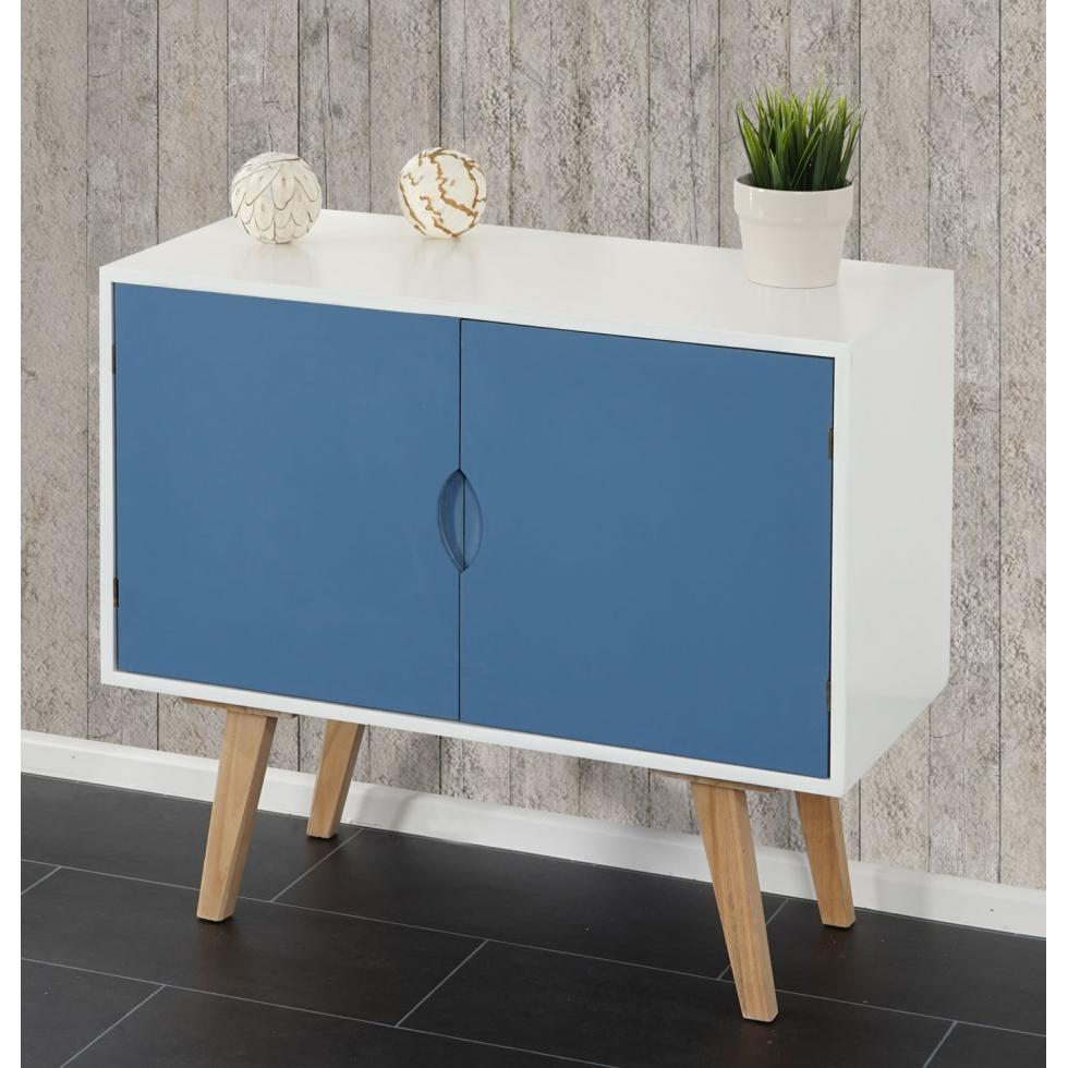 kommode vaasa t292 schrank sideboard retro design 70x80x40cm blaue front ebay. Black Bedroom Furniture Sets. Home Design Ideas