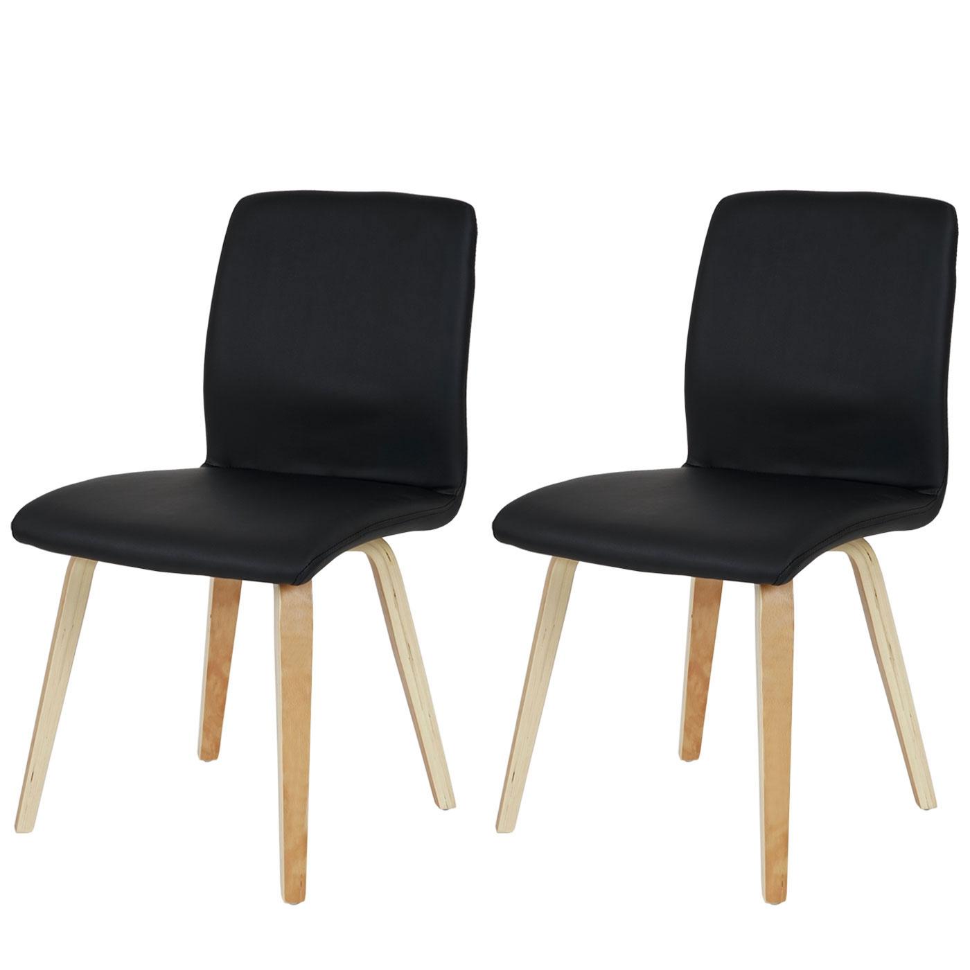 2x esszimmerstuhl bendorf stuhl lehnstuhl retro helle beine kunstleder schwarz. Black Bedroom Furniture Sets. Home Design Ideas