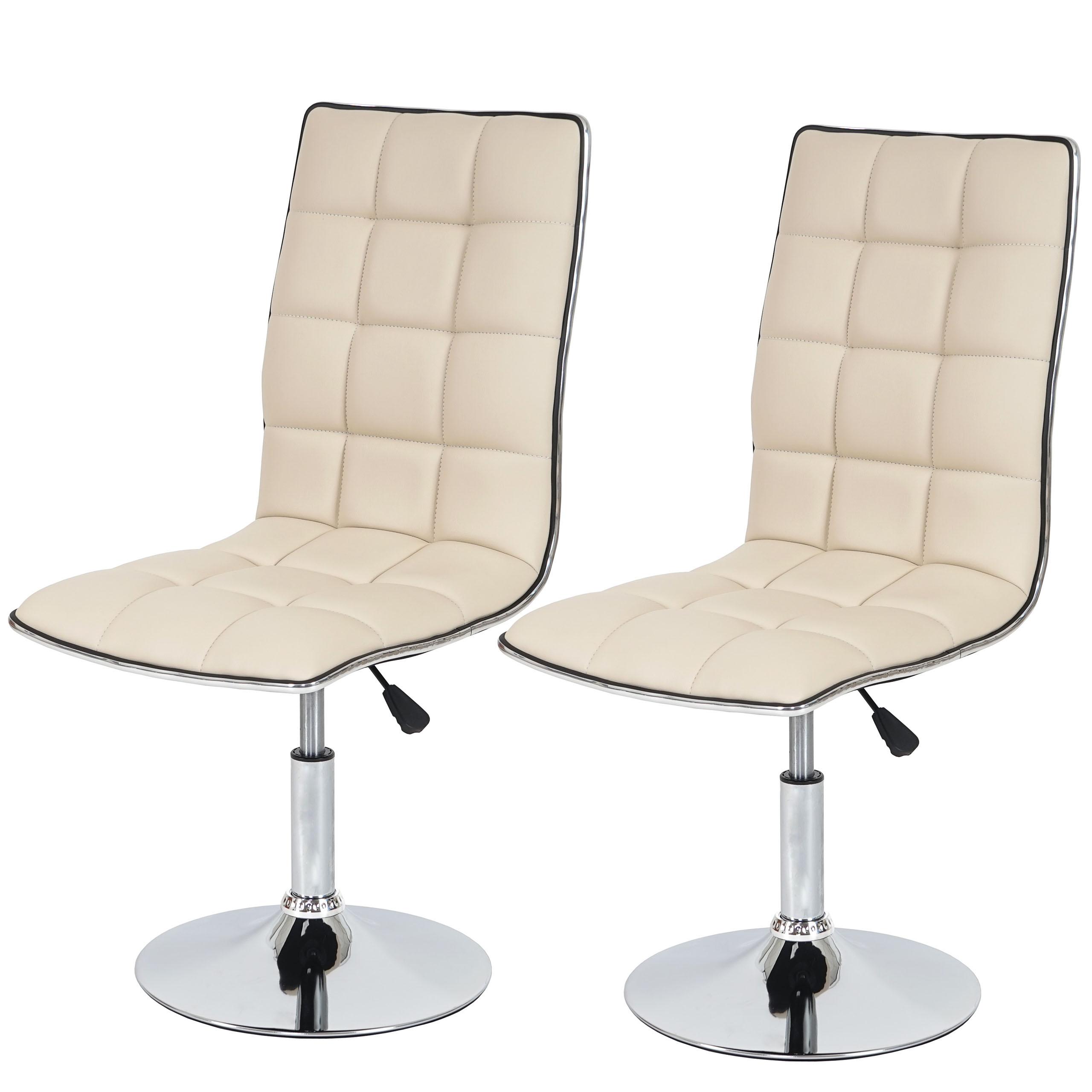 2x esszimmerstuhl hwc c41 stuhl lehnstuhl h henverstellbar drehbar kunstleder creme. Black Bedroom Furniture Sets. Home Design Ideas