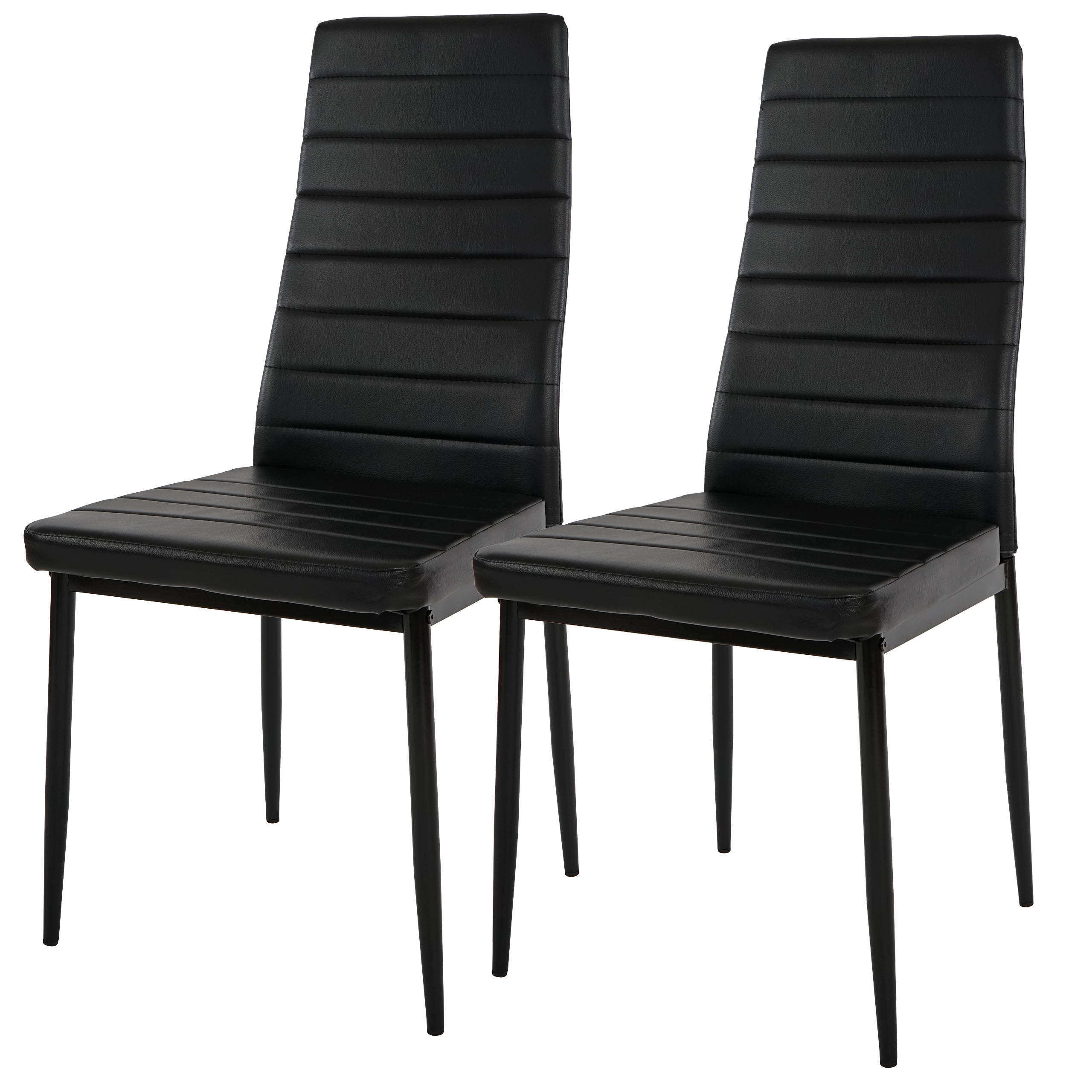 2x esszimmerstuhl lixa stuhl lehnstuhl kunstleder schwarz. Black Bedroom Furniture Sets. Home Design Ideas