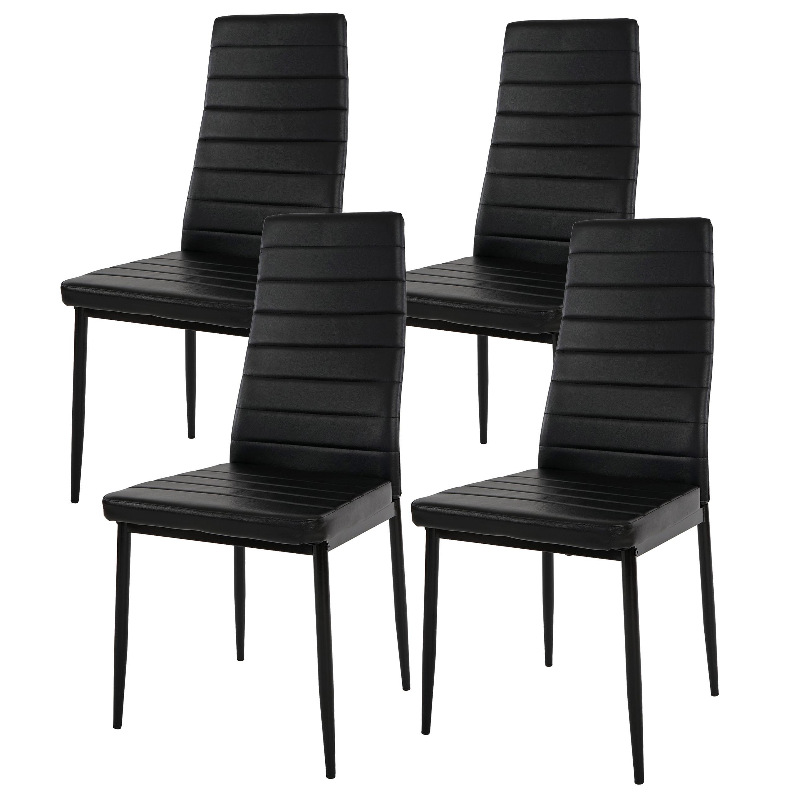 4x esszimmerstuhl lixa stuhl lehnstuhl kunstleder schwarz for Esszimmerstuhl schwarz