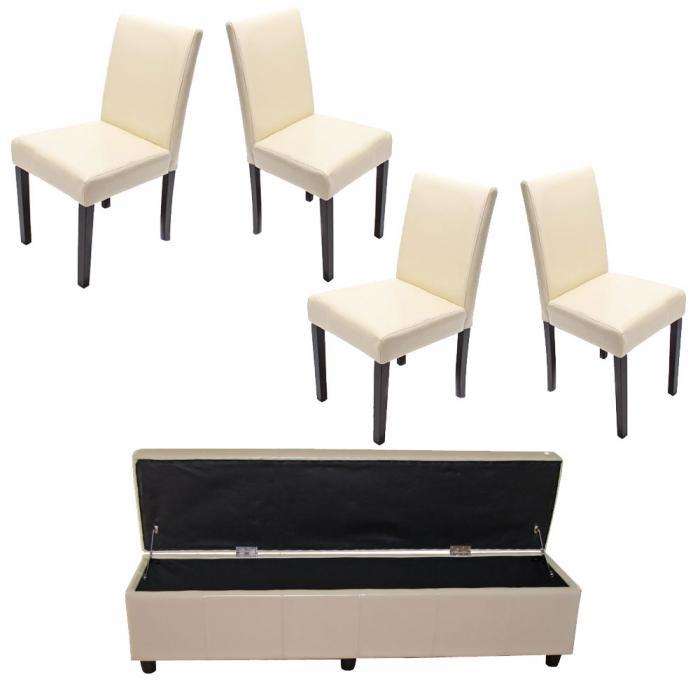 Garnitur Sitzgruppe Bank Mit Aufbewahrung Kriens XXL+4 Stühle Littau,  Kunstleder/Leder ~ Creme