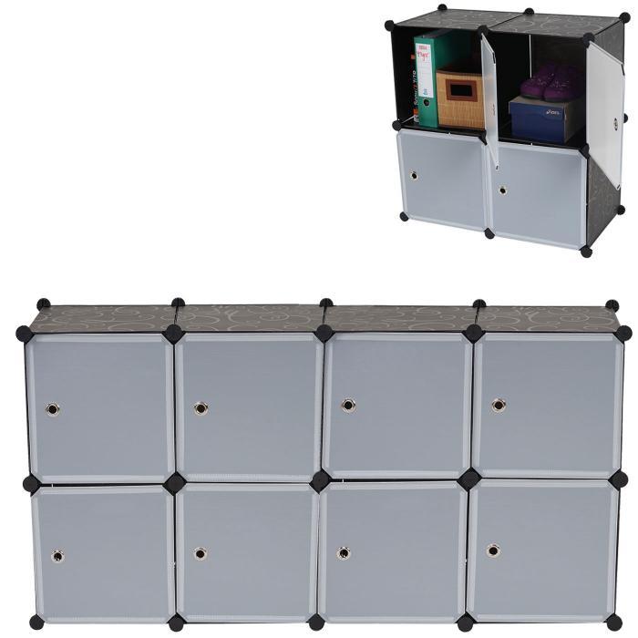 Regalsystem Sydney T307, Steckregal Schrank Aufbewahrung, 8 Boxen Je  36x36x36cm Schwarz
