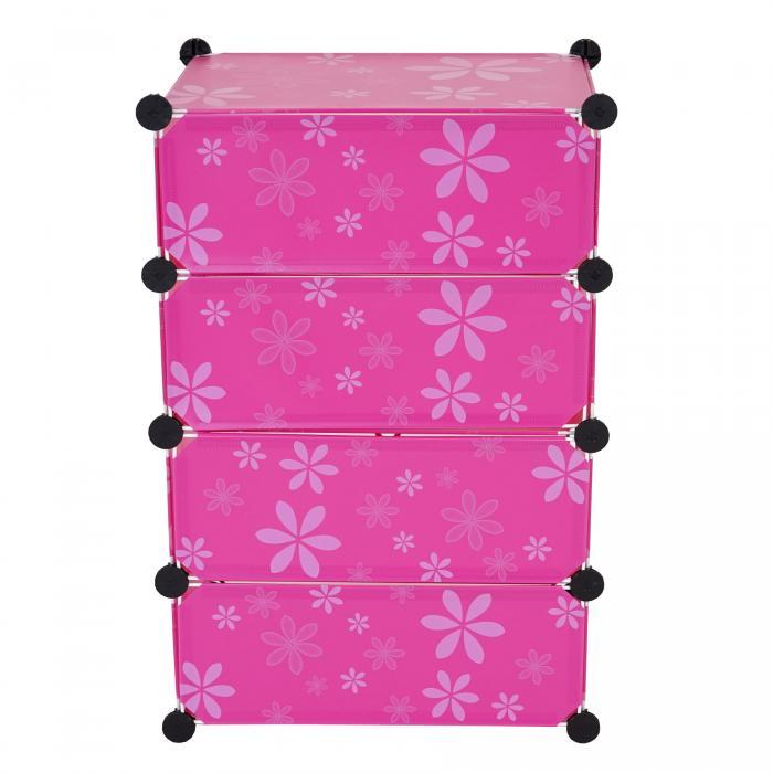 Steckregal aus kunststoff-boxen  Sydney T308, Schuhregal Steckregal Schrank, 4 Boxen je 17x45x35cm pink