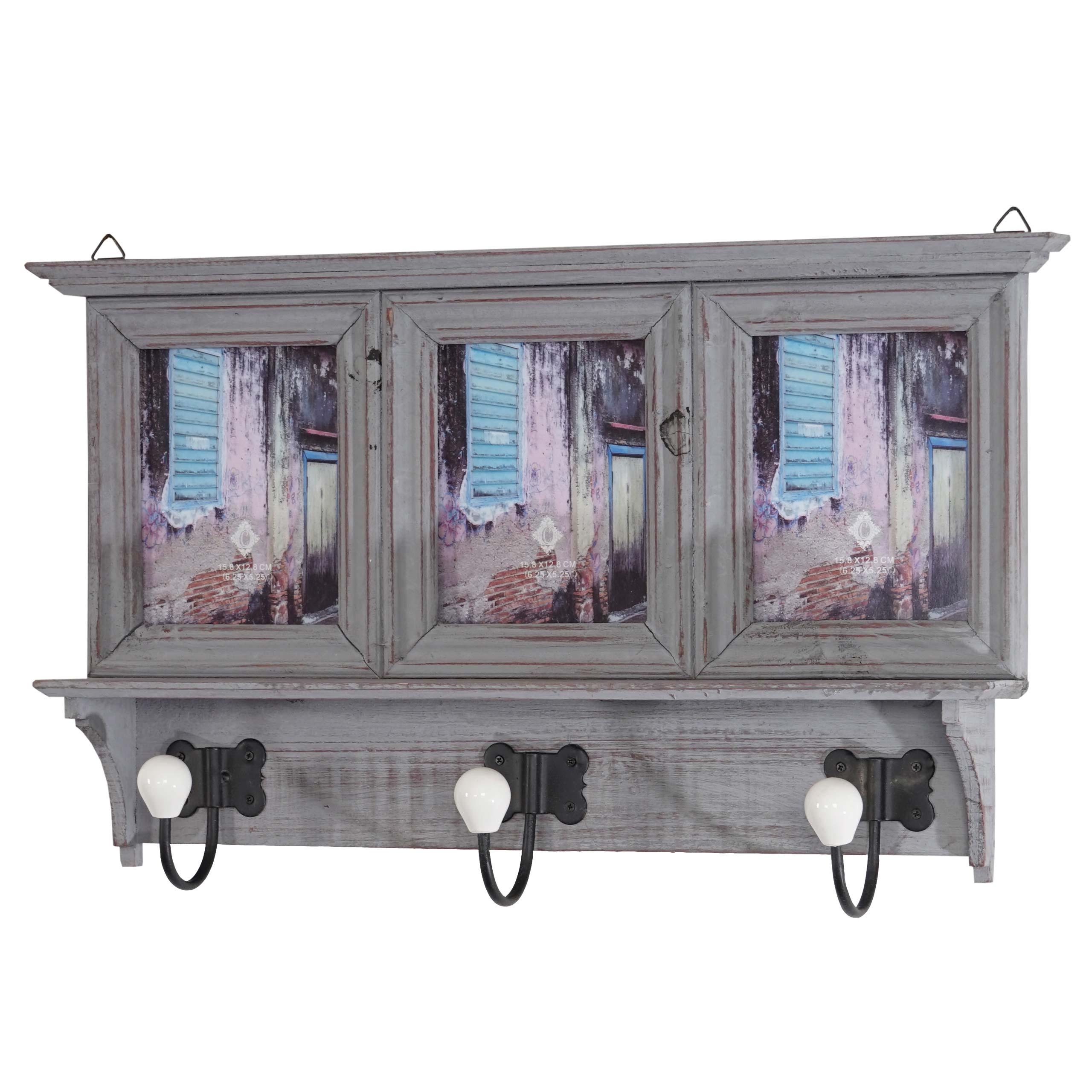 garderobe halifax wandgarderobe mit bilderrahmen 35x56x9cm shabby look vintage ebay. Black Bedroom Furniture Sets. Home Design Ideas