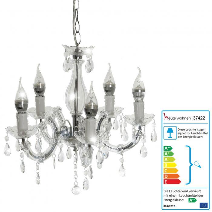 Hängeleuchte Lüster LED-Kronleuchter HW154 5-flammig 15W EEK A++