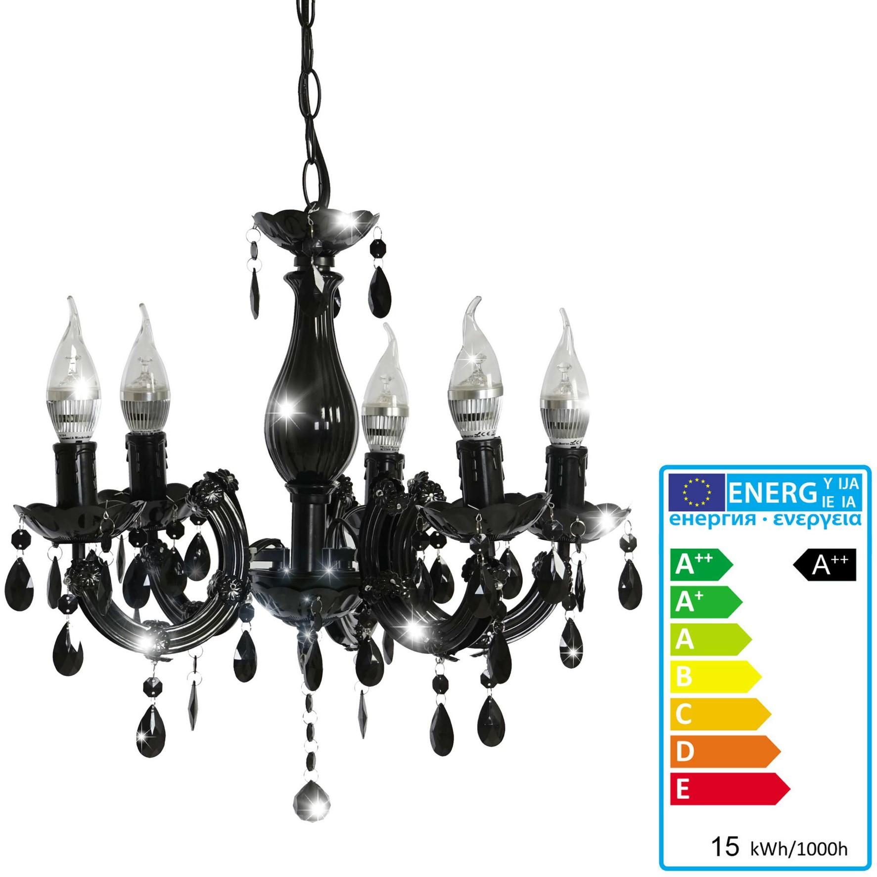 led kronleuchter hw154 h ngeleuchte l ster 5 flammig 15w eek a schwarz. Black Bedroom Furniture Sets. Home Design Ideas