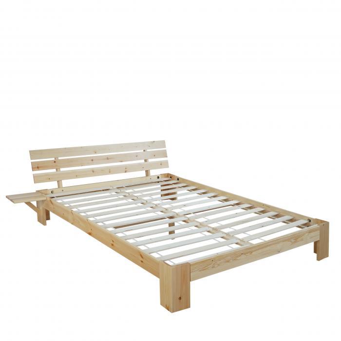 bett perth jugendbett massivholz inkl lattenrost ablage kiefer 140x200cm natur lackiert led. Black Bedroom Furniture Sets. Home Design Ideas