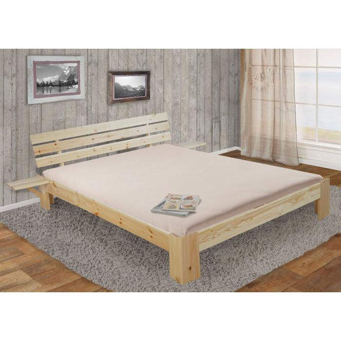 bett perth doppelbett massivholz inkl lattenrost ablage kiefer 160x200cm natur lackiert. Black Bedroom Furniture Sets. Home Design Ideas
