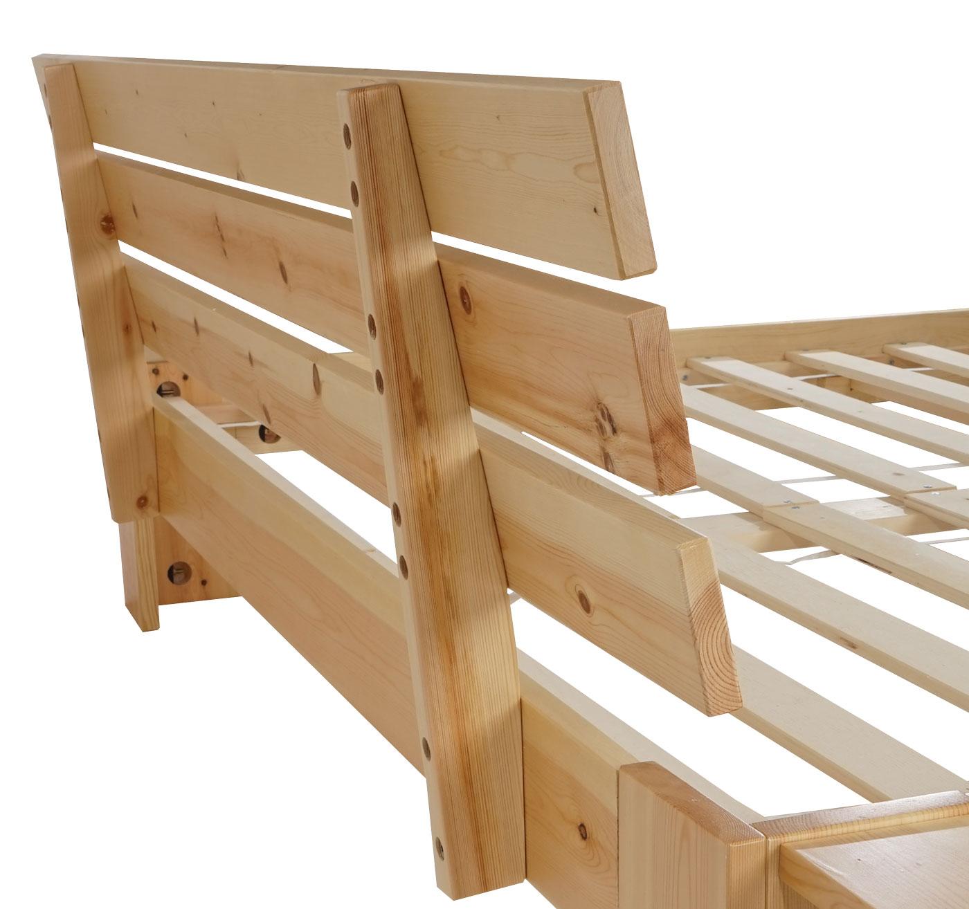 bett perth jugendbett massivholz inkl lattenrost ablage kiefer 140x200cm natur lackiert. Black Bedroom Furniture Sets. Home Design Ideas