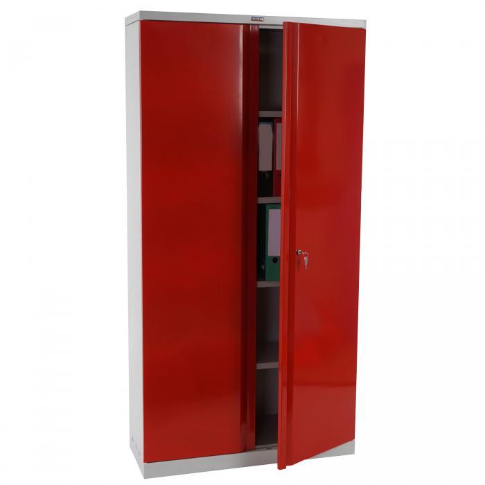Valberg T332, Metallschrank Büroschrank, 2 Türen 182x92x37cm ~ rot