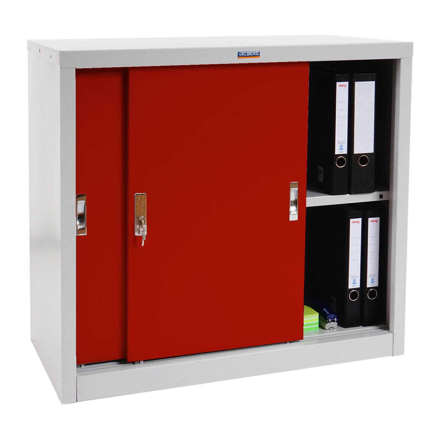 Valberg T333, Metallschrank Büroschrank, 2 Schiebetüren 83x91x46cm ~ rot