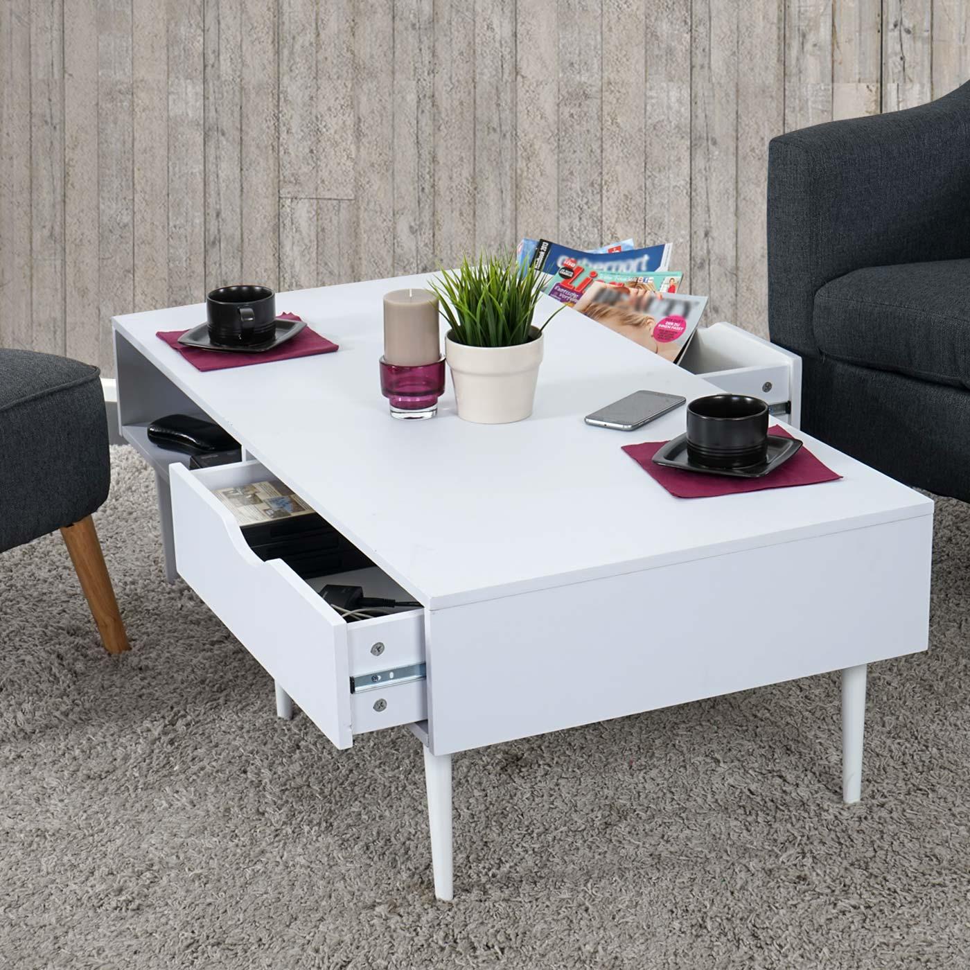 B-Ware (Holzschäden)| Couchtisch Malmö T341, Wohnzimmertisch Lowboard,  Retro-Design 41x120x60cm weiß