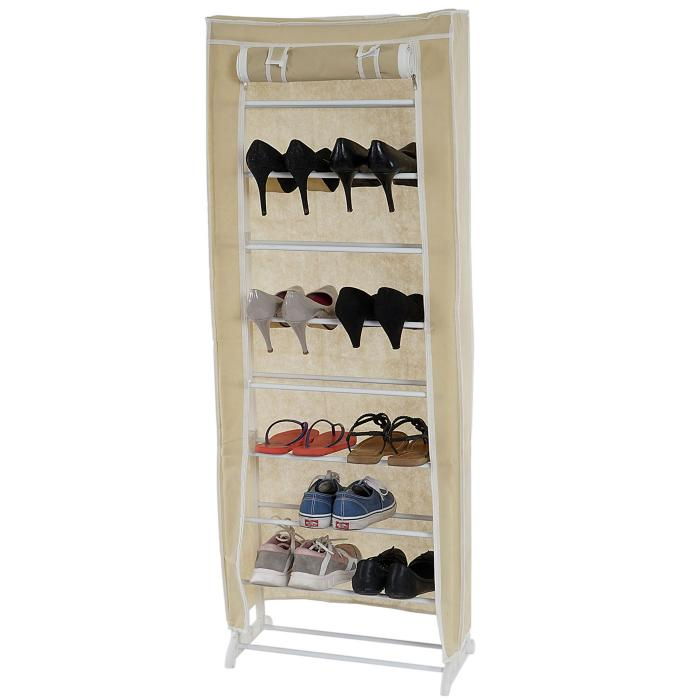schuhschrank campingschrank faltschrank stoff 140x52x18cm creme. Black Bedroom Furniture Sets. Home Design Ideas