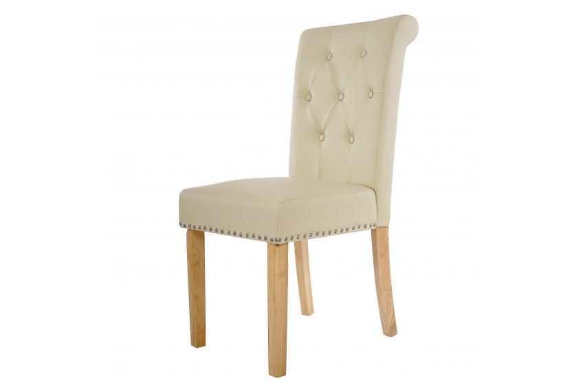 6x esszimmerstuhl chesterfield edinburgh ii kunstleder creme helle beine ebay. Black Bedroom Furniture Sets. Home Design Ideas
