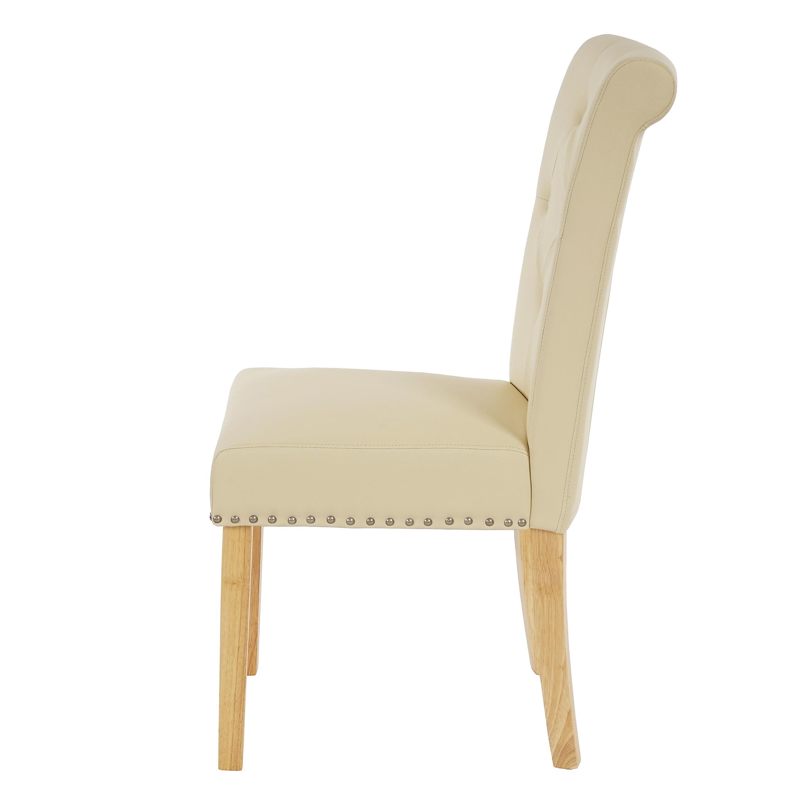 2x esszimmerstuhl chesterfield ii stuhl lehnstuhl nieten kunstleder creme helle beine. Black Bedroom Furniture Sets. Home Design Ideas