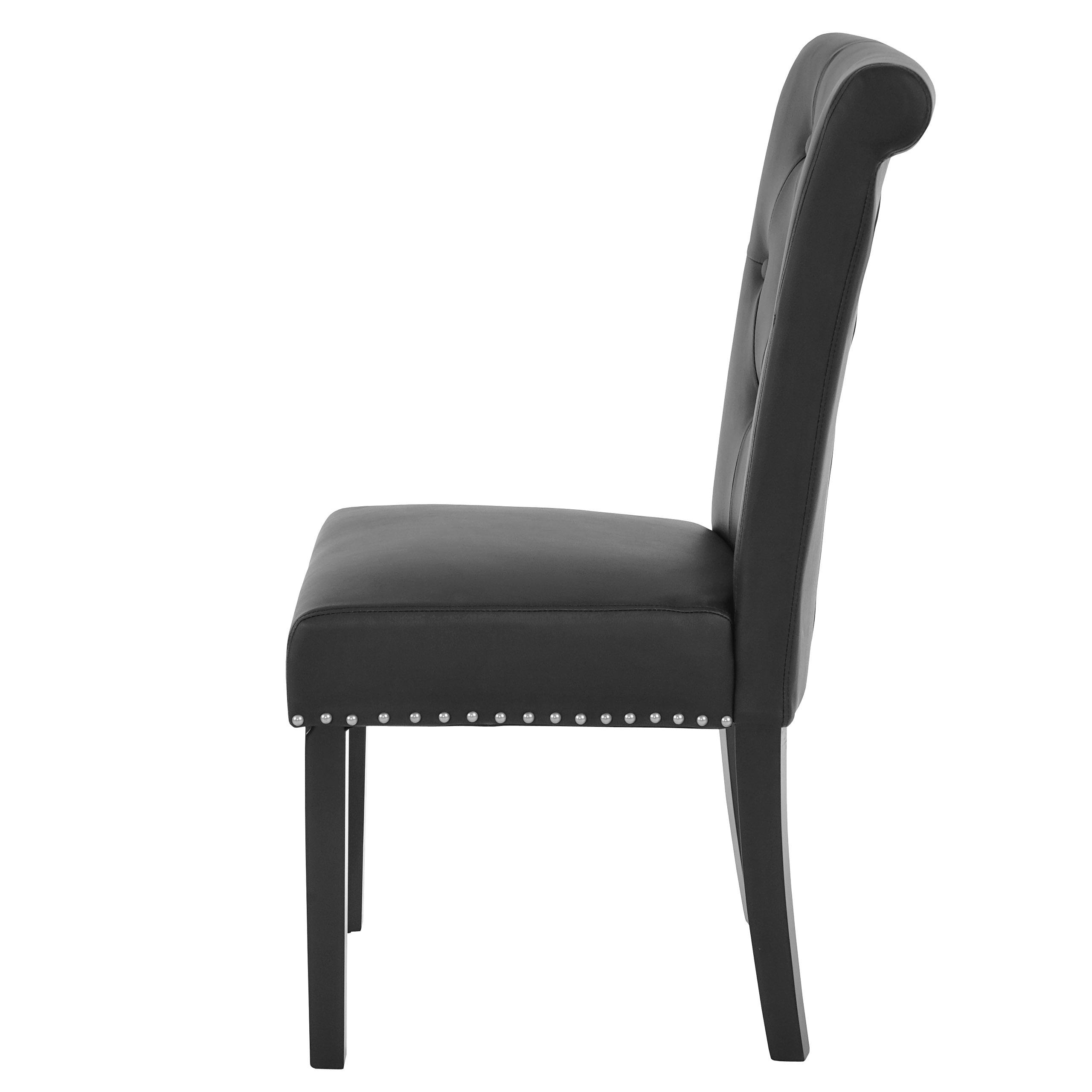 2x esszimmerstuhl chesterfield ii stuhl lehnstuhl nieten kunstleder schwarz dunkle beine. Black Bedroom Furniture Sets. Home Design Ideas