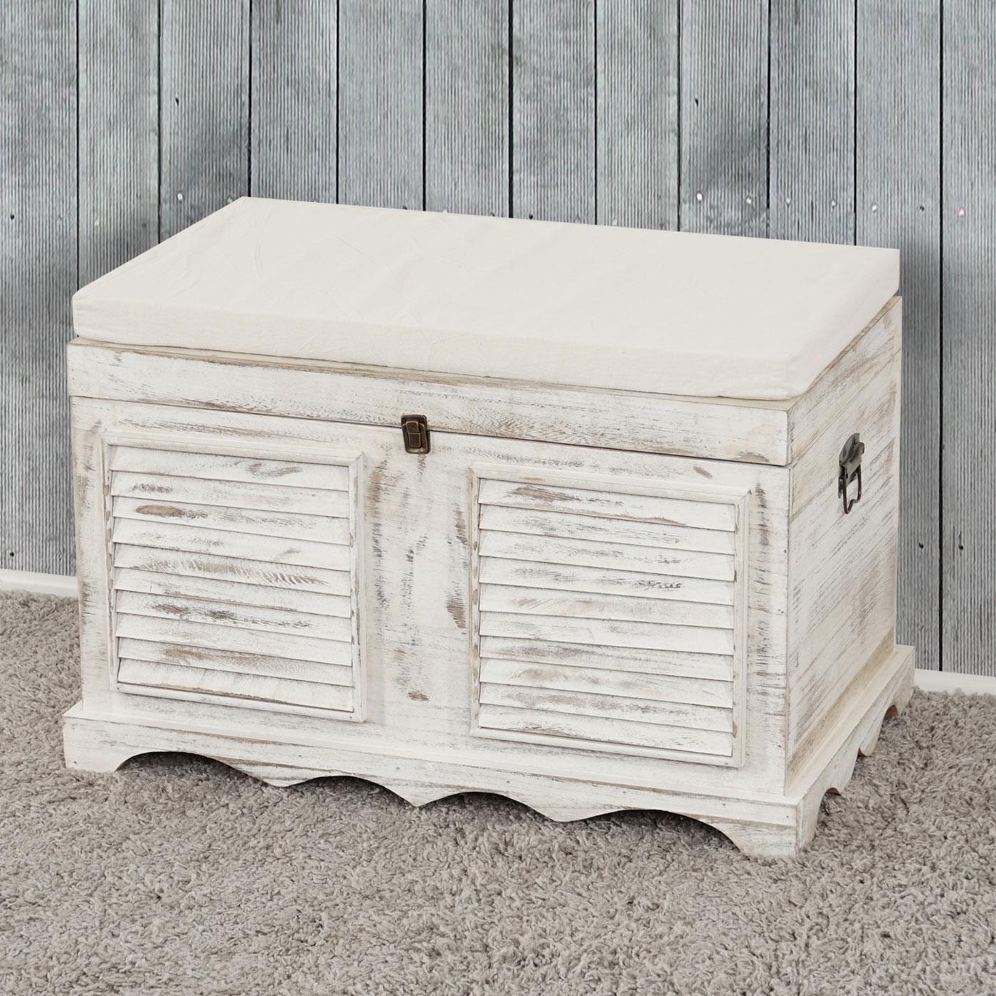 holztruhe t356 sitzbank aufbewahrungstruhe shabby look vintage 50x76x45cm wei. Black Bedroom Furniture Sets. Home Design Ideas