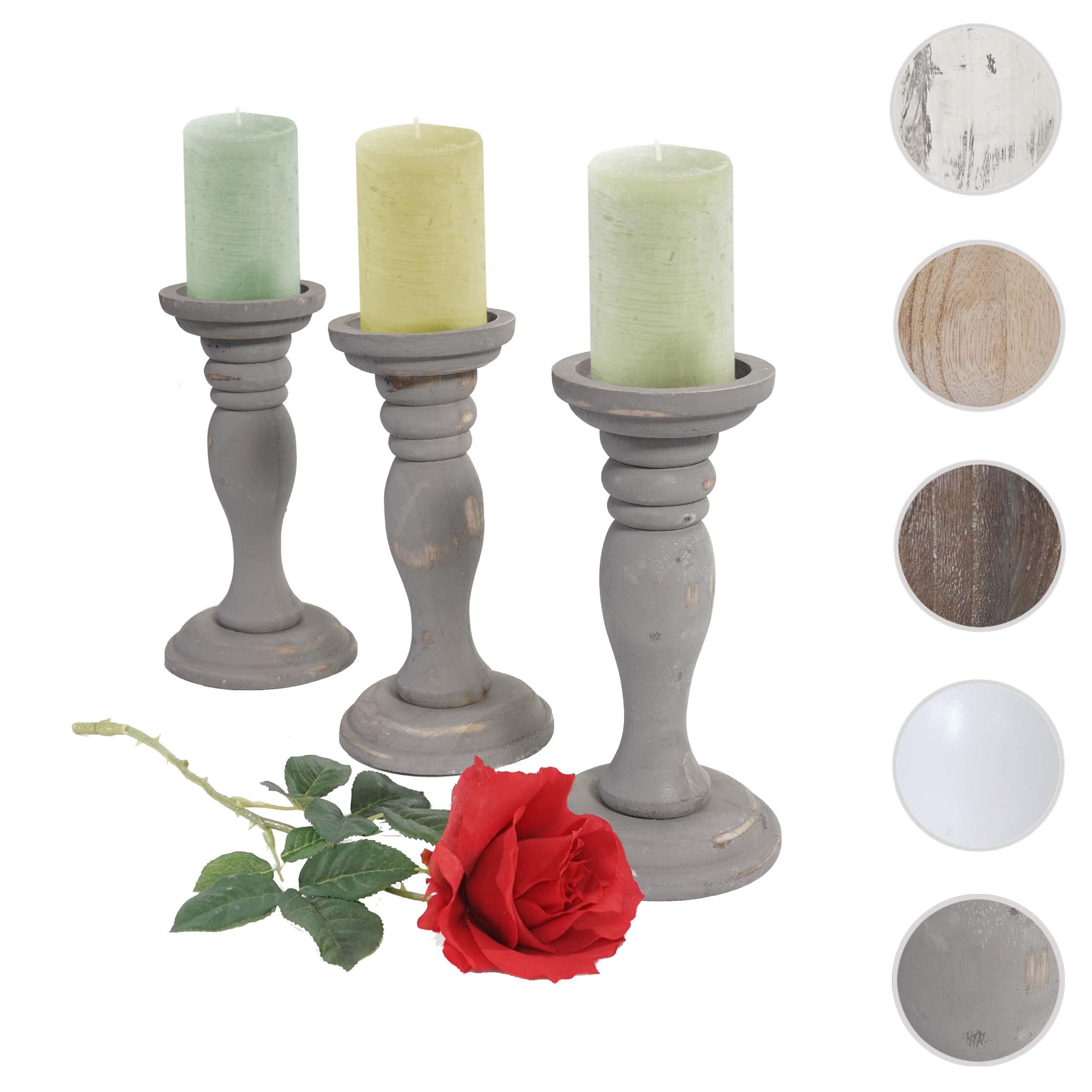 Mendler 3er Set Kerzenständer T361, Kerzenhalter, Shabby-Look Vintage Höhe 24cm ~ Variantenangebot 38447
