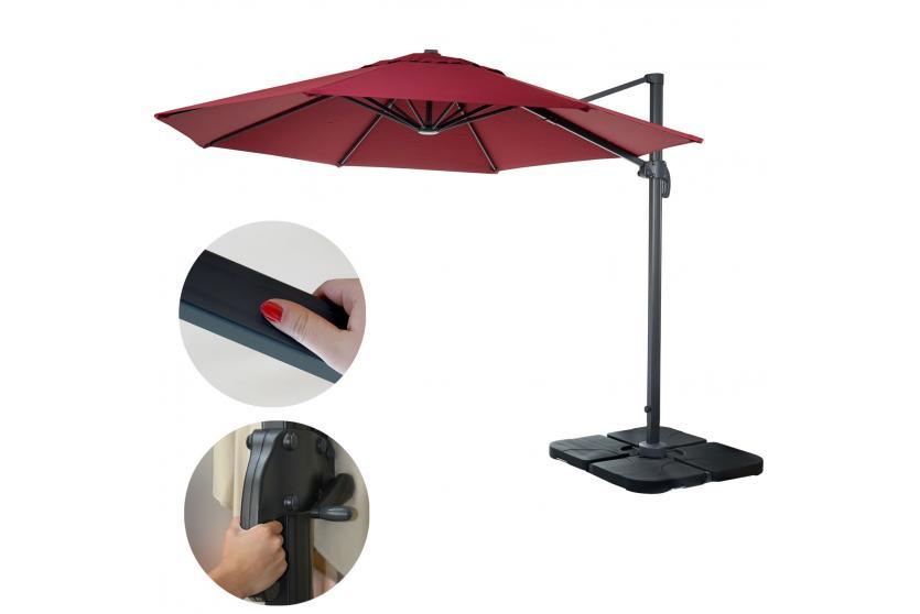 gastronomie ampelschirm hwc a96 sonnenschirm rund 3m polyester alu stahl 23kg bordeaux mit. Black Bedroom Furniture Sets. Home Design Ideas