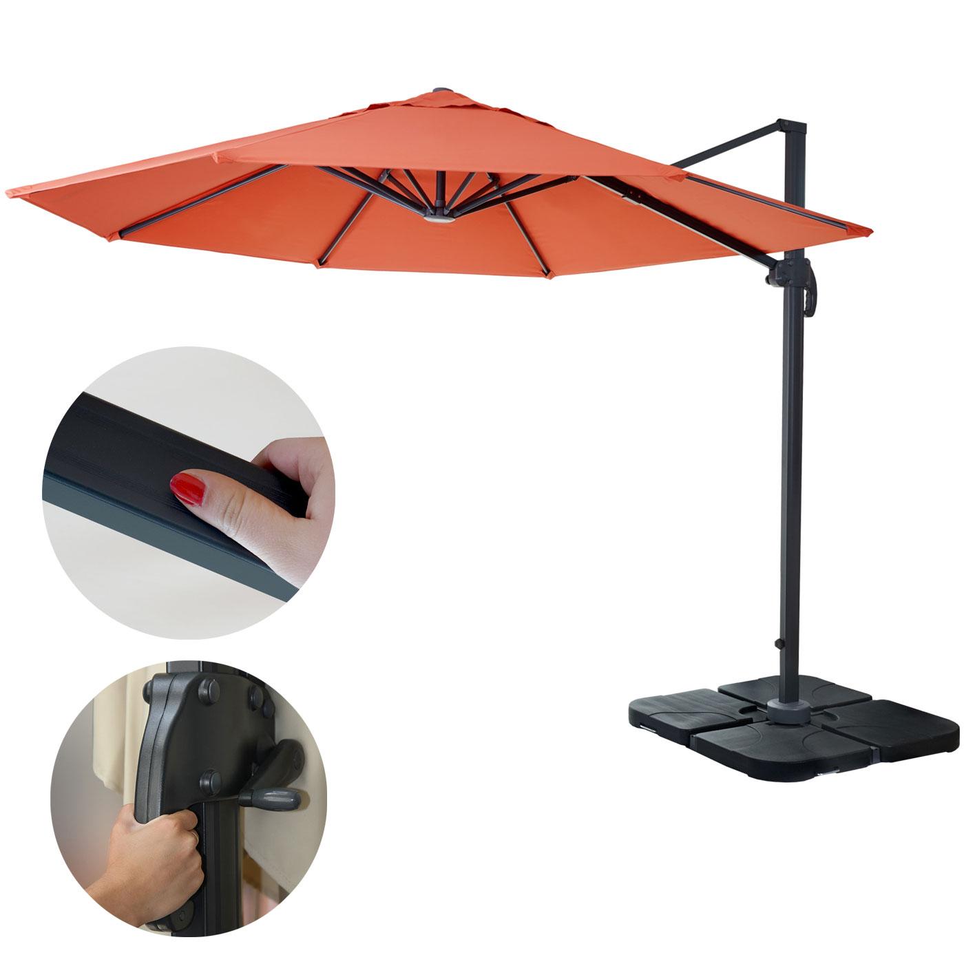 gastronomie luxus ampelschirm sonnenschirm n22 3m terrakotta mit st nder. Black Bedroom Furniture Sets. Home Design Ideas