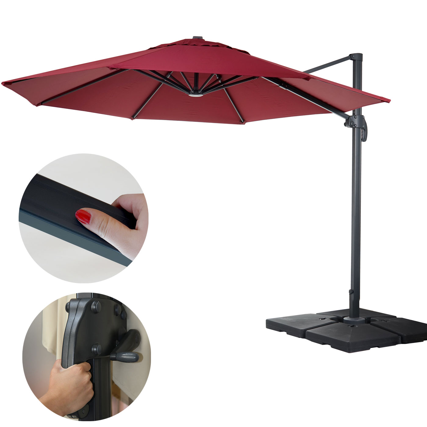 gastronomie ampelschirm n22 sonnenschirm rund 4m polyester alu stahl 27kg bordeaux mit st nder. Black Bedroom Furniture Sets. Home Design Ideas