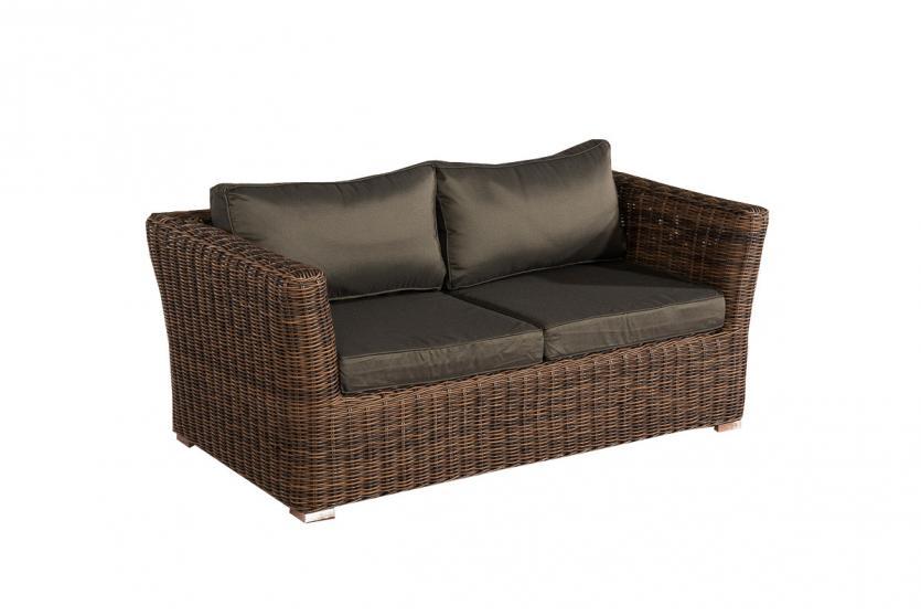 2er sofa 2 sitzer sousse poly rattan braun meliert mit kissen in anthrazit. Black Bedroom Furniture Sets. Home Design Ideas