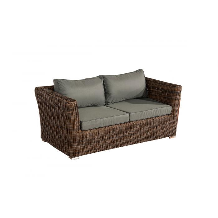 2er sofa 2 sitzer sousse poly rattan braun meliert mit kissen in eisengrau. Black Bedroom Furniture Sets. Home Design Ideas